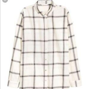 H&M White and Black Oversized Plaid Shirt